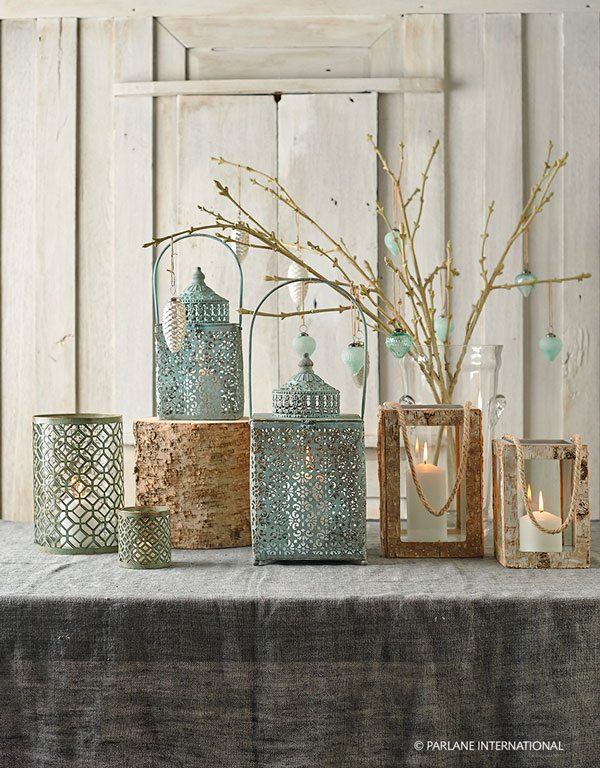 Ornate metal and wooden candle holders